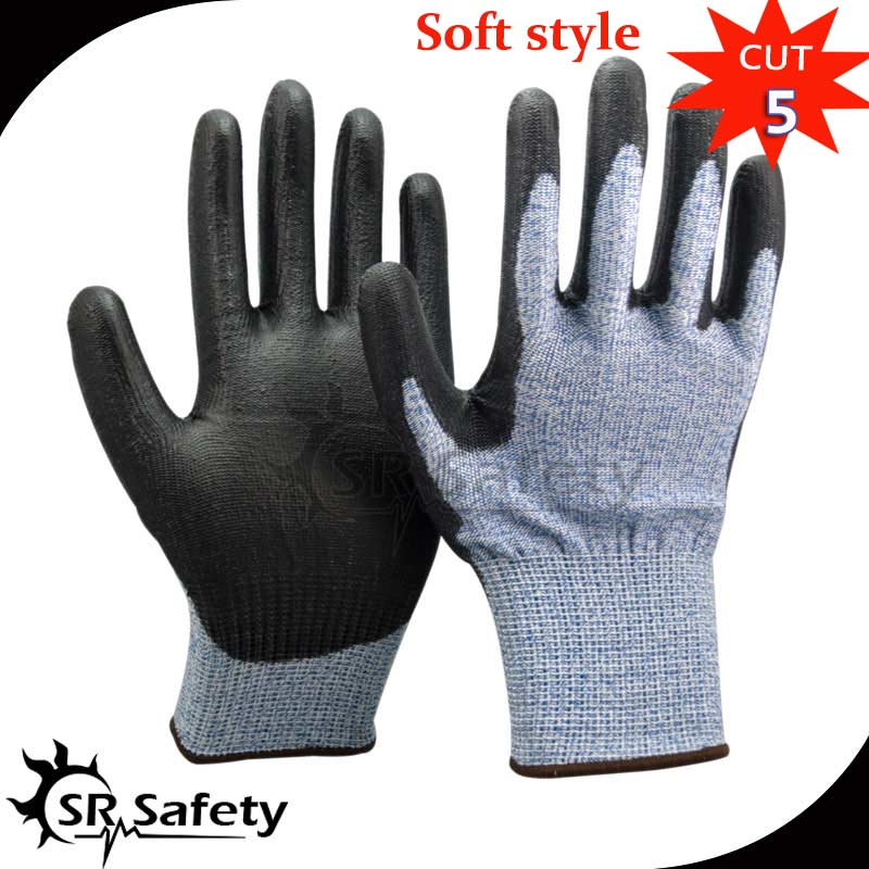 SRSafety 1 Pairs HPPE Anti cut gloves Cut-resistance gloves with PU on palm,cut level 5 2017new style 316l anti cut gloves with stainless steel safety protective gloves with a anti cut hppe gloves 2 pairs