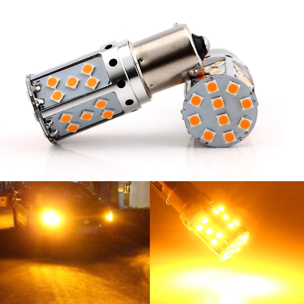 2-Pack Top 30W 1056 BAU15S 7507 12496 PY21W Amber  Yellow Non-Polarity Canbus Error Code Free LED Turn Signal Light DRL Running