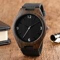 Homens Relógios Preto Relógios Relógio Masculino Analógico Simples de Bambu de Madeira Natural Relógio de Pulso Com Pulseira De Couro Genuíno Dom Item