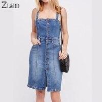ZL BD Sexy Backless Strap Denim Dress Shirt Women Vintage Bodycon Summer Dress Single Breasted Beach