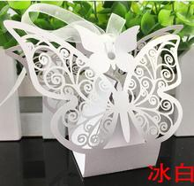100 pieces Big Luxury Butterfly Laser Cut Wedding Favours Box Wedding Party Sweet Candy Boxes