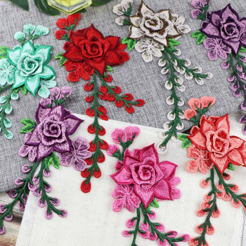Embroidery Flower Sew On Patch Applique For Wedding/Evening Dress Diy Clothing Decoration Sewing On Accessories Patches Craft