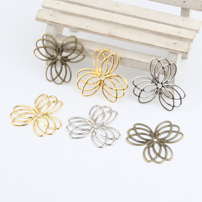 20Pcs Pick Color Leaves Filigree Wraps Connectors Metal Crafts Connector For Jewelry Making DIY Accessories Charm Pendant
