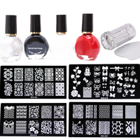 4pcs Nail Stamping Plates 4x Stamp Nail Polish 1pcs Scraper 1X Stamper Konad Nail Art Stamp