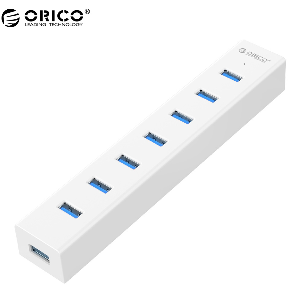 ORICO 7 Port USB3.0 HUB EU Plug With 5V Power Adapter SuperSpeed USB3.0 5 Gbps Fast Transmission orico usb hub 7 ports 5 gbps usb3 0 hub splitter support bc1 2 charging with 12v dc charging port