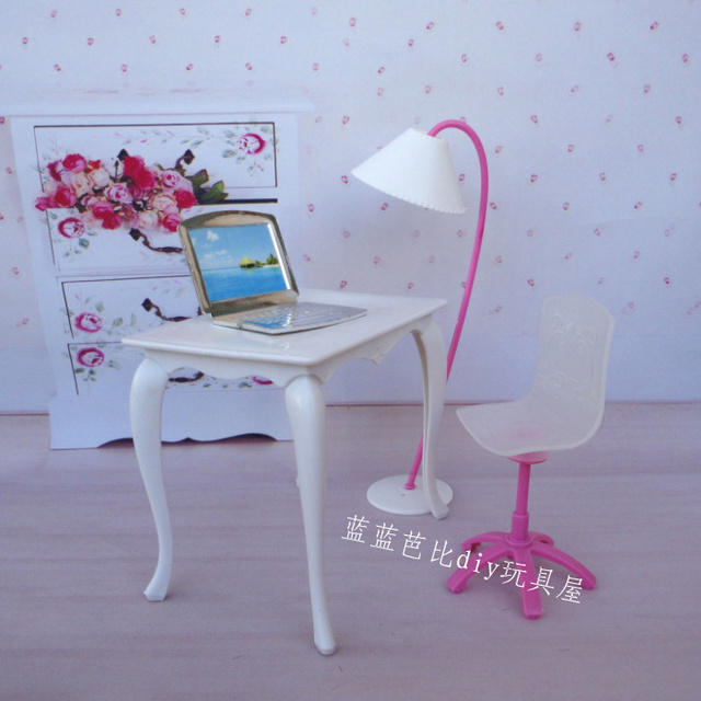 Free Shipping Doll Play House Doll Furniture Desk Lamp Laptop Chair