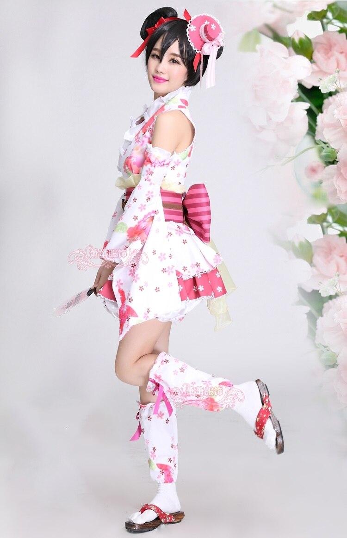 New LoveLive Nico Yazawa Cosplay Costume Yukata Kimono Dress Uniform Outfit Halloween Adult Costumes for Women S XL