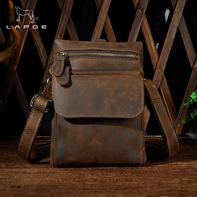 LAPOE Cow Genuine Leather Messenger Bags Men Travel Vintage Crossbody Shoulder Bag for Man Sacoche Homme Bolsa Masculina crazy horse genuine leather messenger bags men travel business crossbody shoulder bag for man sacoche homme bolsa masculina