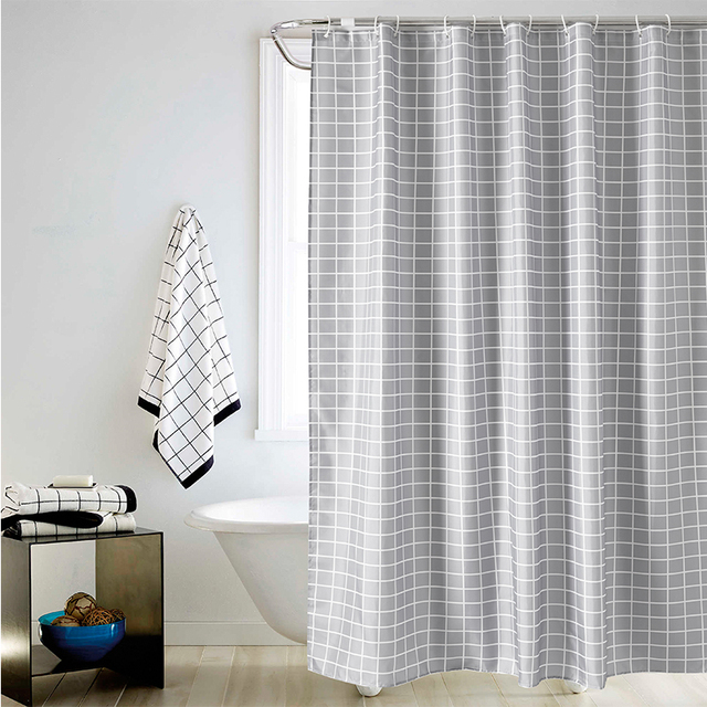 YUN YANG Shower Curtain Gray Plaid Simple Wet Separation For ...