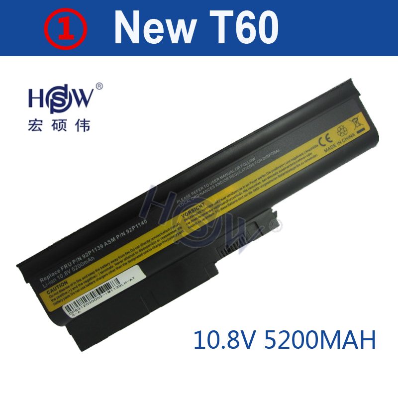 HSW 5200MAH Laptop Battery for IBM Lenovo ThinkPad R60 R60e T60 T60p R500 T500 W500 bateria akku baterie