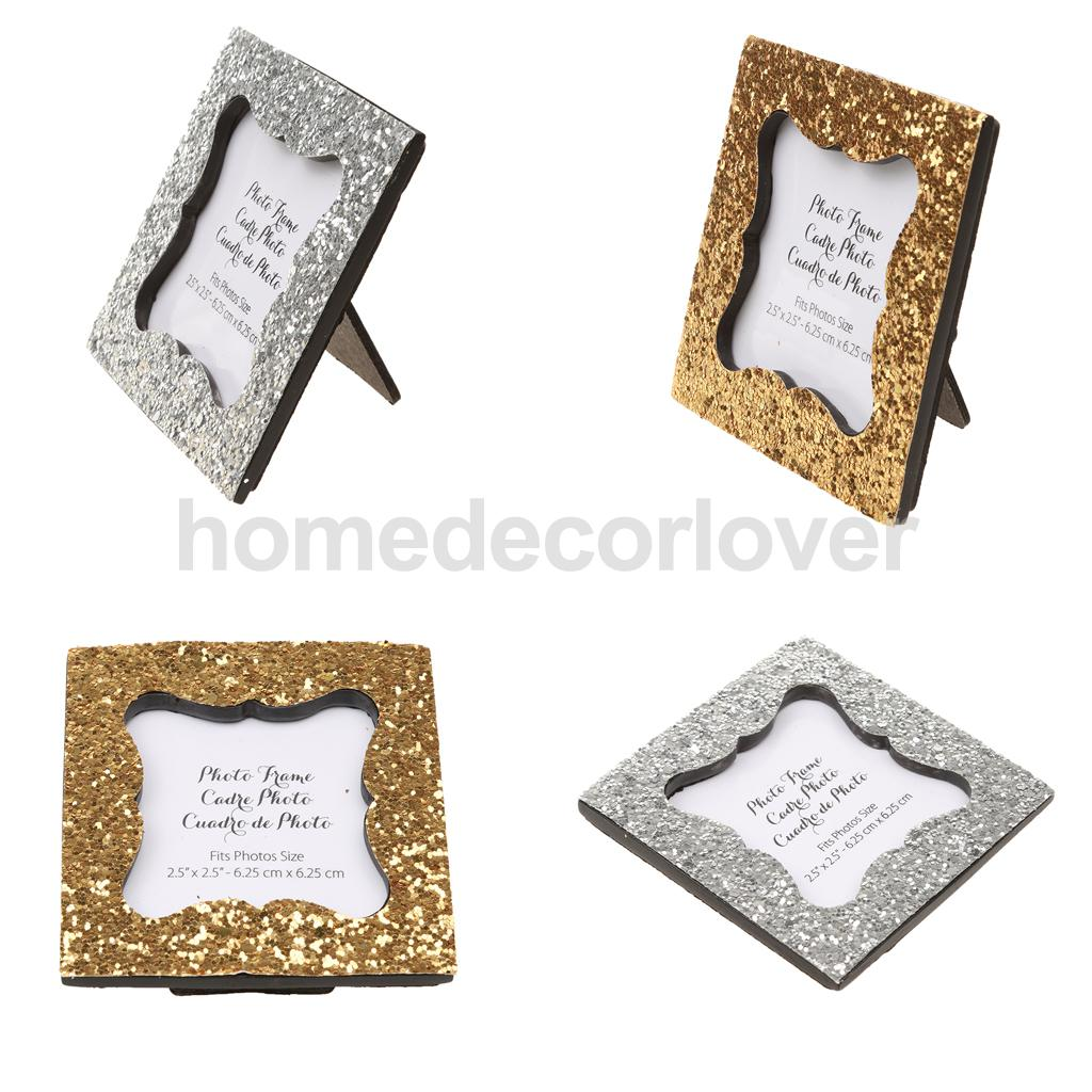 Shiny Sequin Small Photo Frame Picture Holder Display Table Card Holder with Back Stand Wedding Party Gift Favor