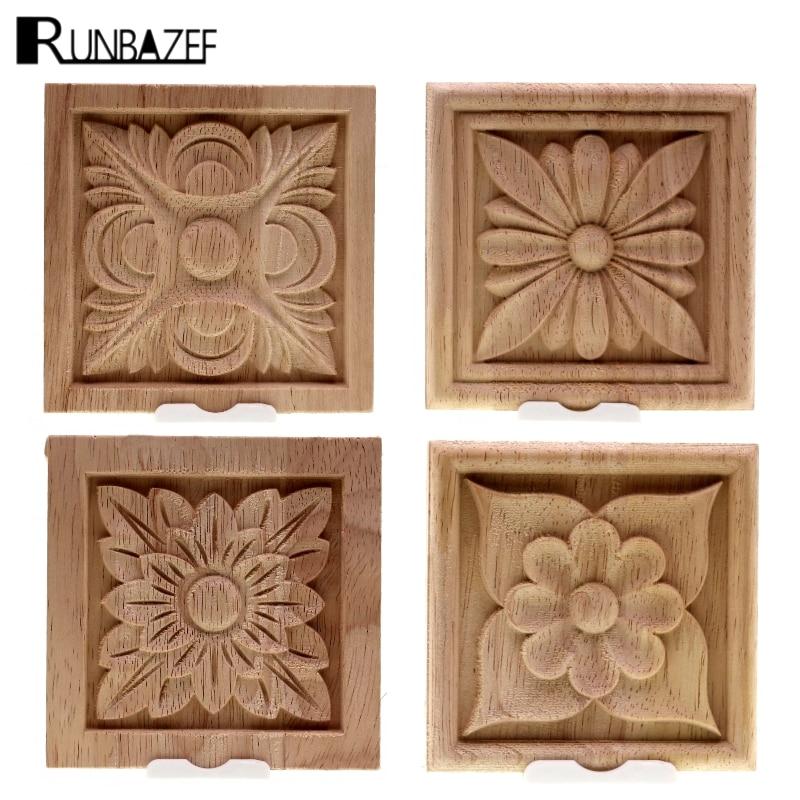 RUNBAZEF Vintage Unpainted Wood Carved Corner Onlay Applique Frame Decorate Wall Door Furniture Decorative Figurine Miniature