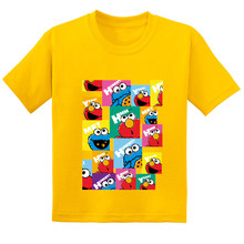 цена на The Sesame Street Cookie Monster and Elmo Print Kids Funny T-shirt Baby Girls 2019 Summer Cotton T shirt Boys Cartoon Clothes 9T