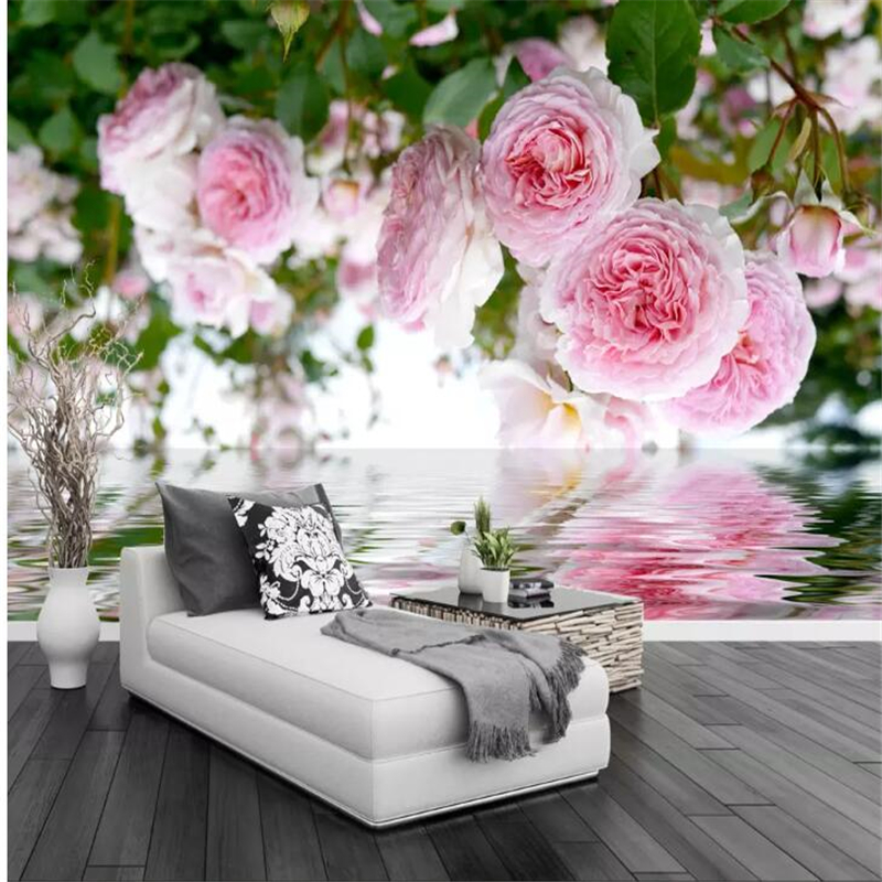 wellyu Custom wallpaper papel de parede Rose Garden Pink Roses Waterfront Garden Wall TV Background Wall papier peint tapeta image