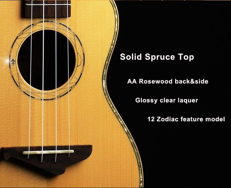 Acouway Ukulele Concert Tenor Ukulele 23 26 Solid spruce top glossy finish Hawaii Ukelele Stringed Musical Instruments 12 zodiac