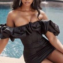 2019 Summer Women Elegant Off Shoulder Party Dress Vestidos Black Puff Sleeve Bodycon Sexy  Club Slash Neck
