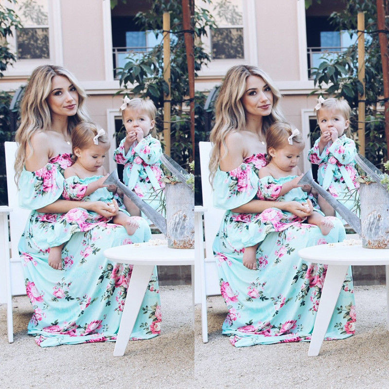 Mother And Daughter Dress 2018 Fashion Strapless Dress Family Clothing Summer Mom And Me Floral Dresses Family Matching Outfit
