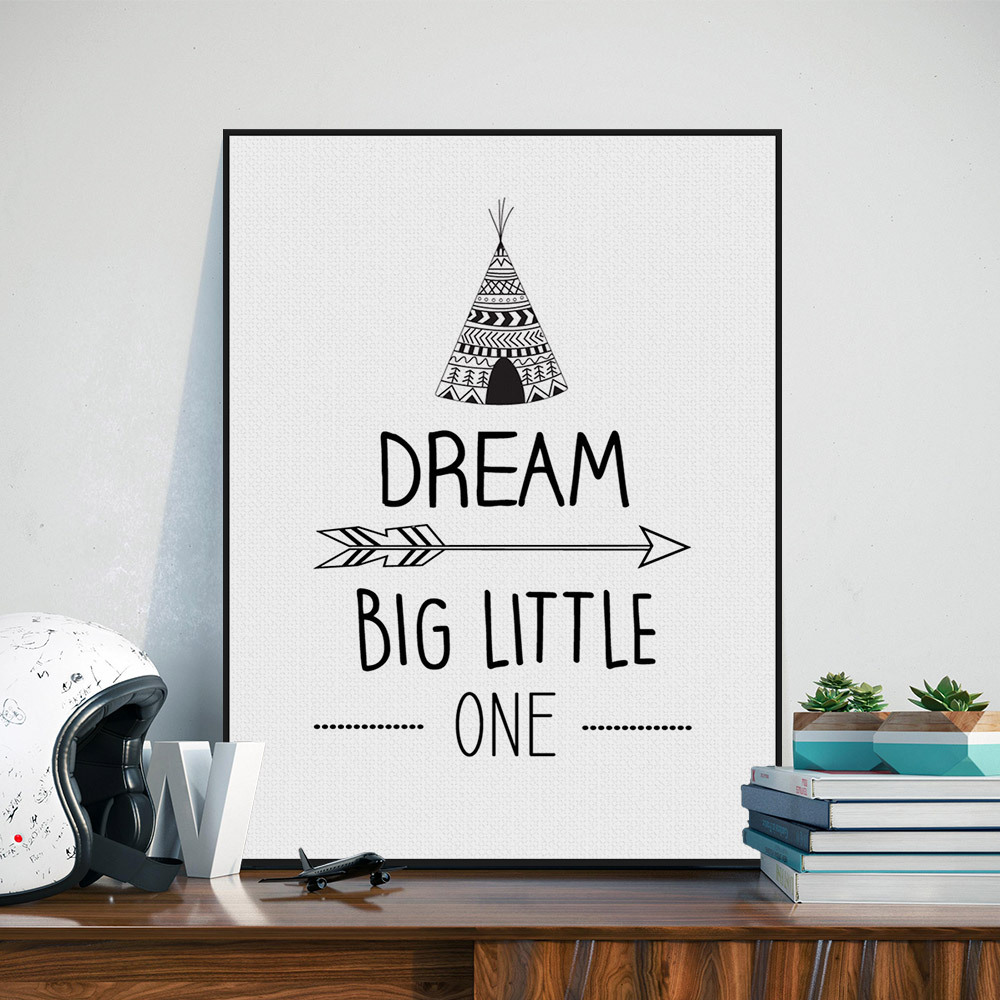 Online Shop Black White Nordic Minimalist Dream big little one ...
