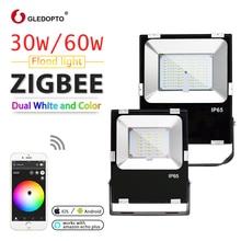 Zigbee inteligente led 30w projector 60 rgb + cct luz ao ar livre ip65 à prova dwaterproof água ligação de luz zigbee AC110 240V au ue eua led eco mais