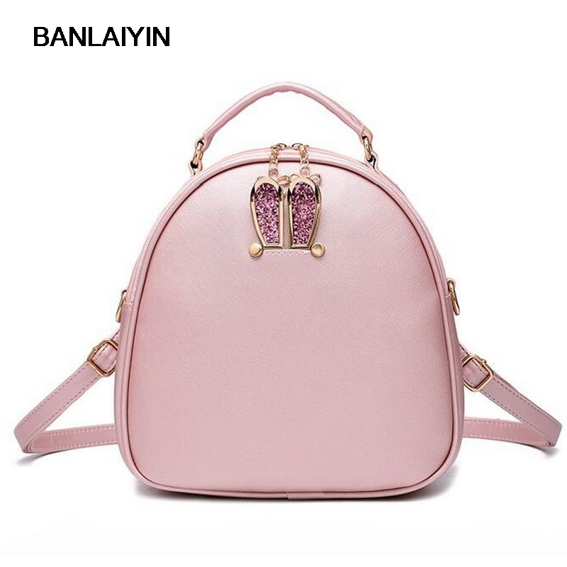 Japanese Style Solid Color Rabbit Ears Leather Backpack Preppy School Bags For Teenagers Shoulder Crossbody Bag