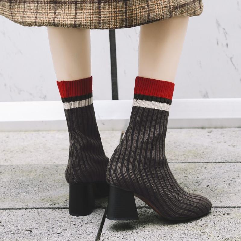 Bota Élastique Nouvelle Chunky Show Sapato Marque Mélangée Cheville Femmes Mode Talon Courte As Chaussures Chaussette Dames as Couleur Feminino Bottes Show Feminina Botas RxPwrZRYq