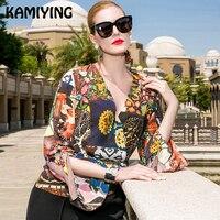 KAMIYING Новая Летняя Сексуальная Открытая рубашка с манжетами на талии со шнуровкой печать шелковая женская блузка и топы сорочка Femme Bluzki PKHA209