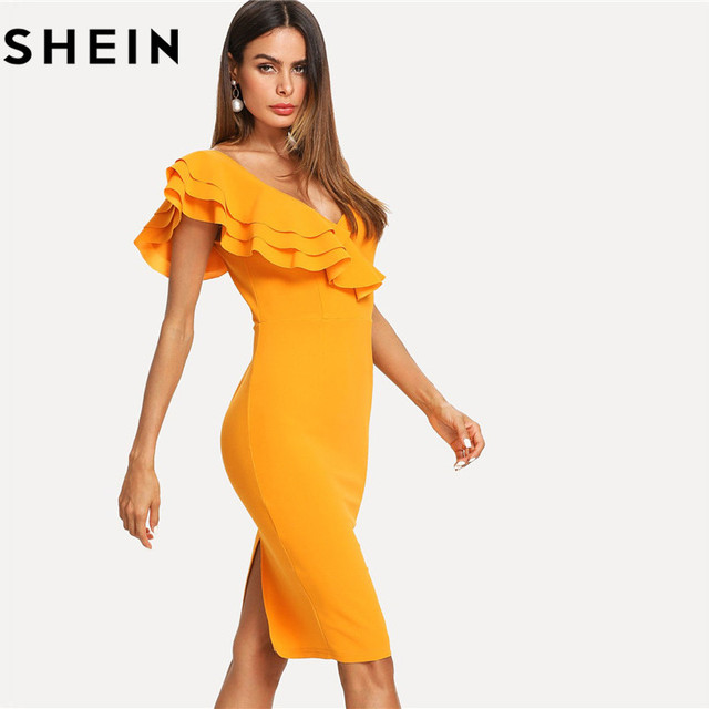 d6ff46c4fd SHEIN Sleeveless Ruffle Layered Flounce Trim Split Back V Neck Party ...