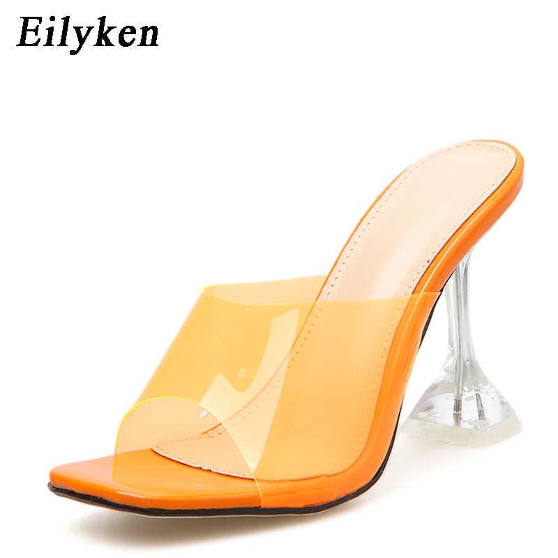 Eilyken オレンジシルバー Pvc ゼリースリッパオープントゥハイヒールの女性透明パースペックススリッパ靴ヒール明確なサンダルサイズ 42
