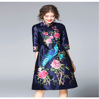 Chinese traditional embroidery modern cheongsam dress for women