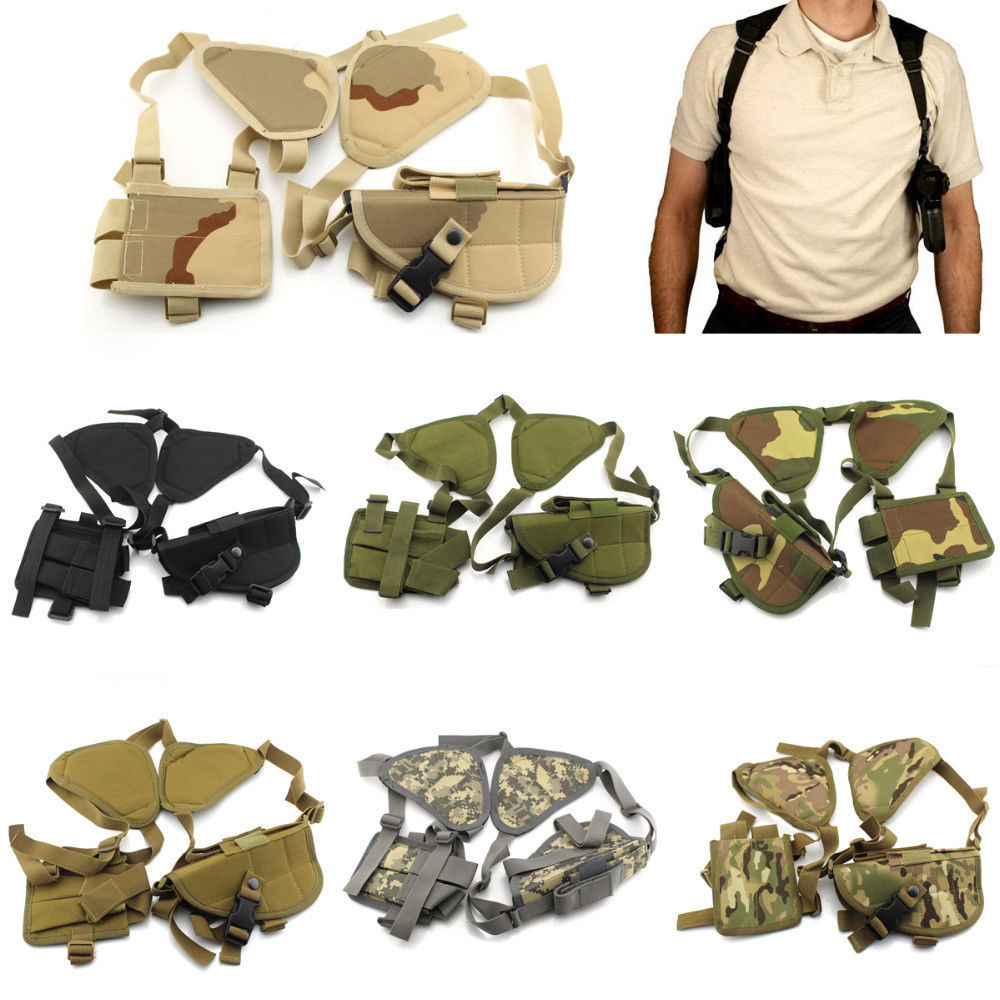 Tactical Airsoft Military Left Right Hand Gun Pistol Double Shoulder Holster Bag