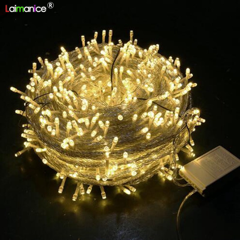 Outdoor christmas 50M 100M 400 600LED string lights wedding parties fairy light holiday lights lighting tree garland decorative