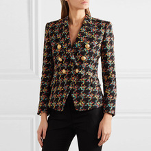 New 2018 Fall women double breasted tweed coats Chic buttons elegant blazers jackets D450