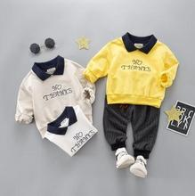 Turn Down Collar Shirt Letter Kids Clothes 2019 Spring Baby Boy Clothes 2Pcs Set Long-sleeve Toddler Baby Clothes SY-F191227 picturesque childhood official store 2018 gentleman rompers baby clothes full sleeve solid turn down collar boy 2 1 set hot sale