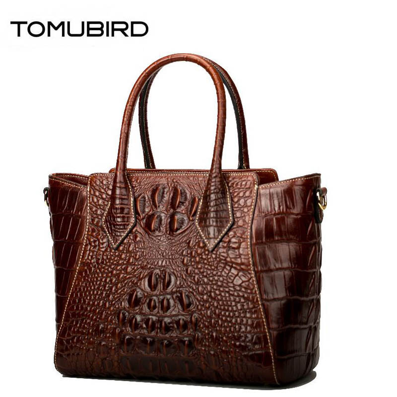 TOMUBIRD 2018 new superior cowhide leather Designer Crocodile pattern Handmade Leather Tote Satchel Genuine leather Handbags цена