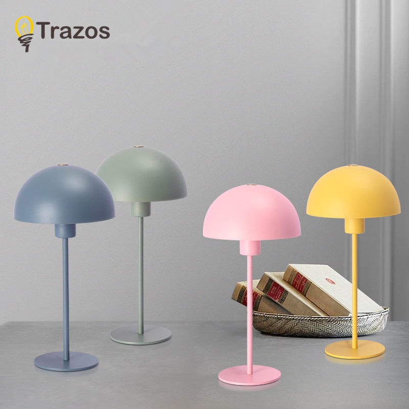 TRAZOS Modern Table Lamp For Bedroom Iron Desk Lamp Luminaria de mesa Wooden Bedside Lights E27 Reading Lighting Fixtures sunli house 3d night lights 3d humidifier moon lamp luminaria 3d oil diffuser led lighting for indoor room luminaria de mesa