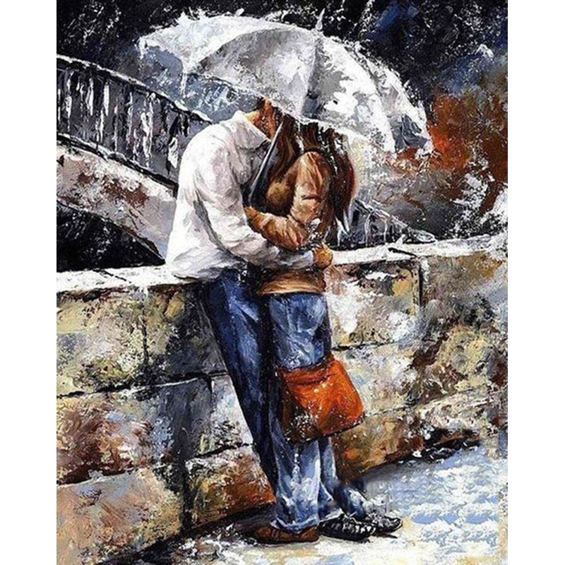 Frameless Kiss Lover DIY Painting By Numbers Kits Modern Wall Art Hand Painted Oil Painting On Canvas For Home Decor Artwork