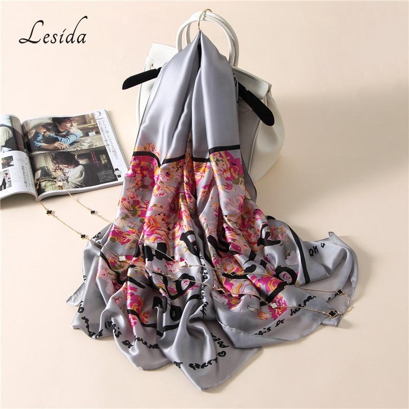 [LESIDA] Women Scarf Flowers Printed Love Pattern Fine Crimping Silk Shawl Female Oversized Soft Towel Sjaal Cape 90*180CM 3005
