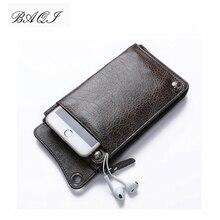 BAQI Brand Men Wallets 2019 Fashion Genuine Leather Cowhide High Quality Purse Card Holder Man Zipper Wallet Long Phone Bag New