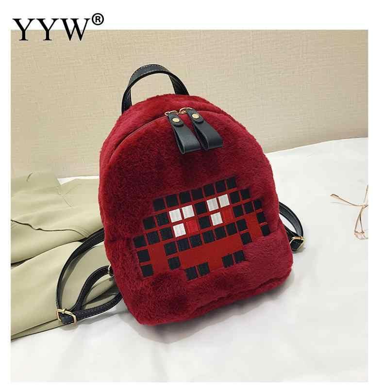 Fashion Shoulder Bag Wonen Bag Winter Casual School Bag For Teenage Girl  Plush Child Cute Backpack 2fa5bb6bbc049
