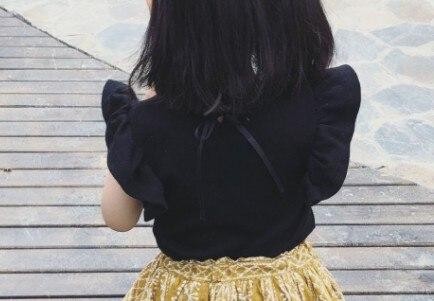 Топы для маленьких девочек; летняя хлопковая черная футболка для малышей с кружевными рукавами для детей - Цвет: Коричневый