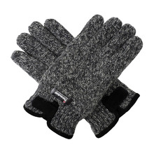 Bruceriver Mens Wool Knit Gloves with Warm Thinsulate Fleece