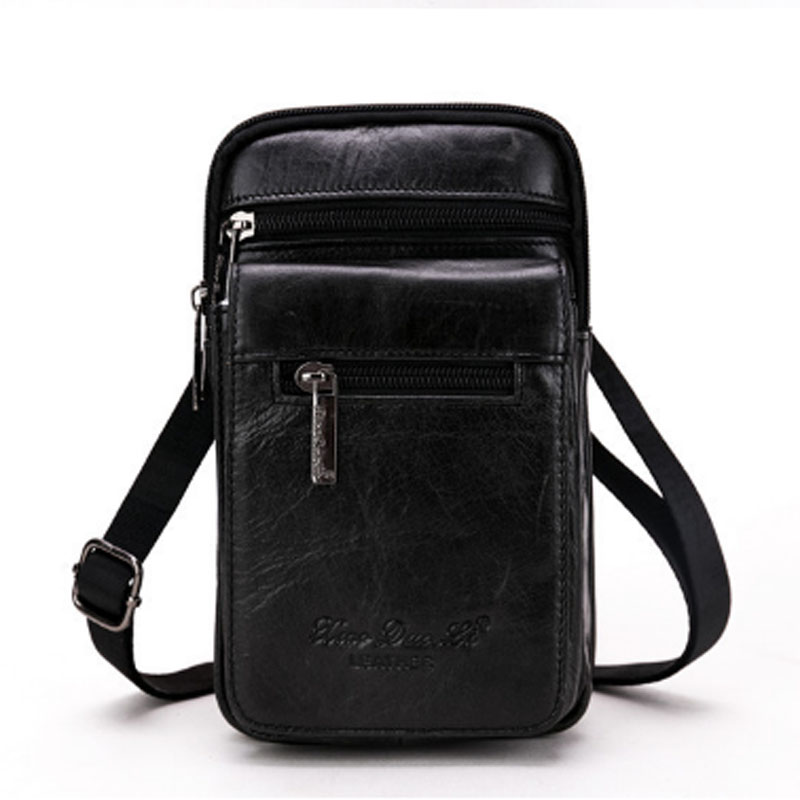 Men High Quality Cross Body Bag First Layer Cowhide Belt  Hook Fanny Waist Bag  Cell/Mobile Phone Bag Shoulder  Wallet