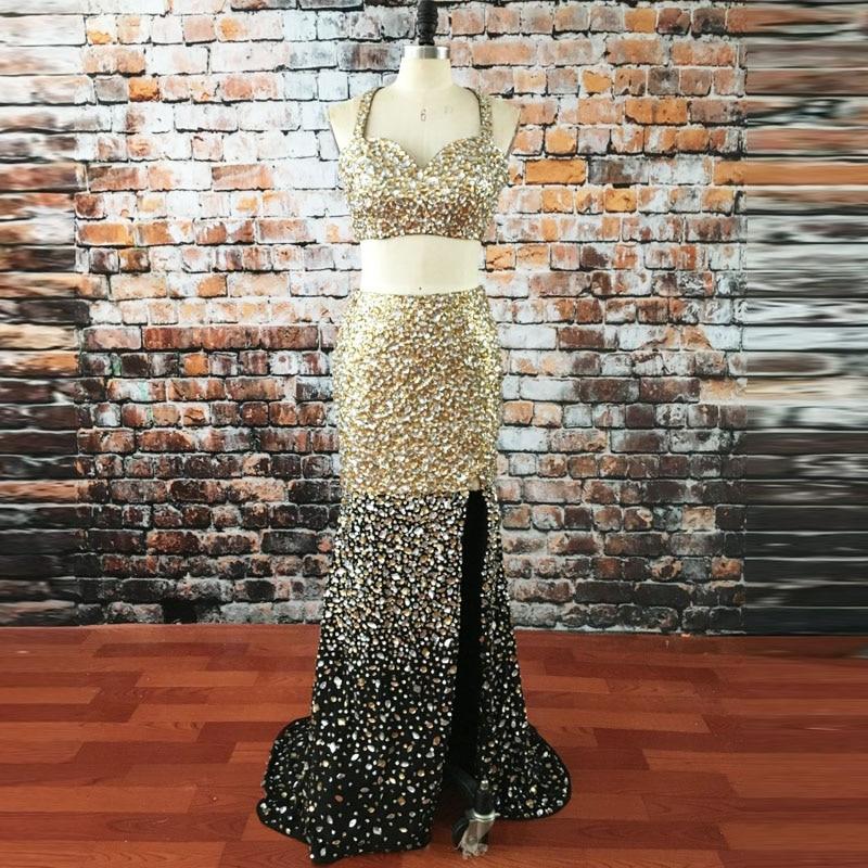 Rhinestones Gold Two Piece Prom Dresses 2017 Vestidos Cortos De Gala Spaghetti Straps Beaded Sexy Mermaid Evening Party Gowns