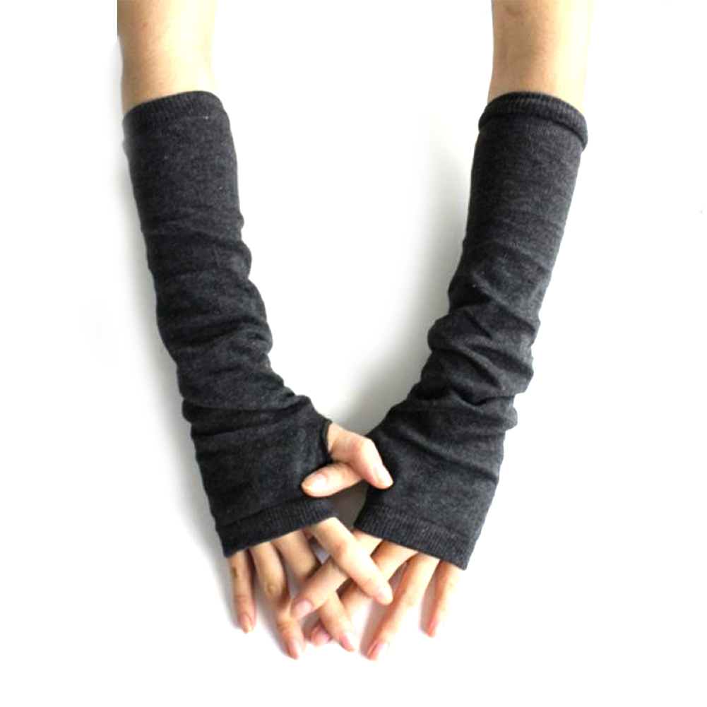 Pure Color Hand Long Mitten Gloves Women Knitted Wrist Arm Fingerless Winter Gloves Unisex Soft Keep Warm