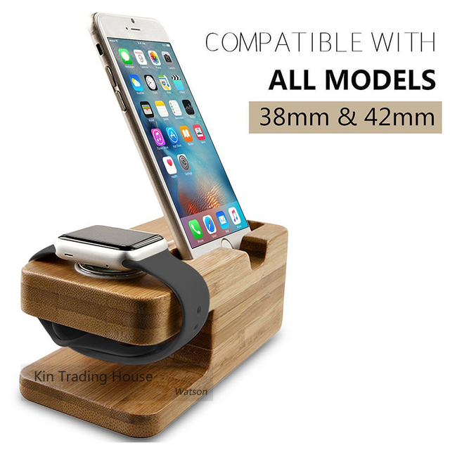Bamboo Wood Charger  Dock Station for Apple Watch and Iphone