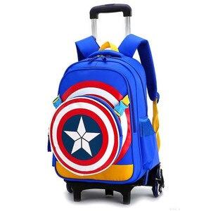 Image 1 - Travel bags for kid Boys Trolley School backpack wheeled bag for School Trolley bag On wheels School Rolling backpacks