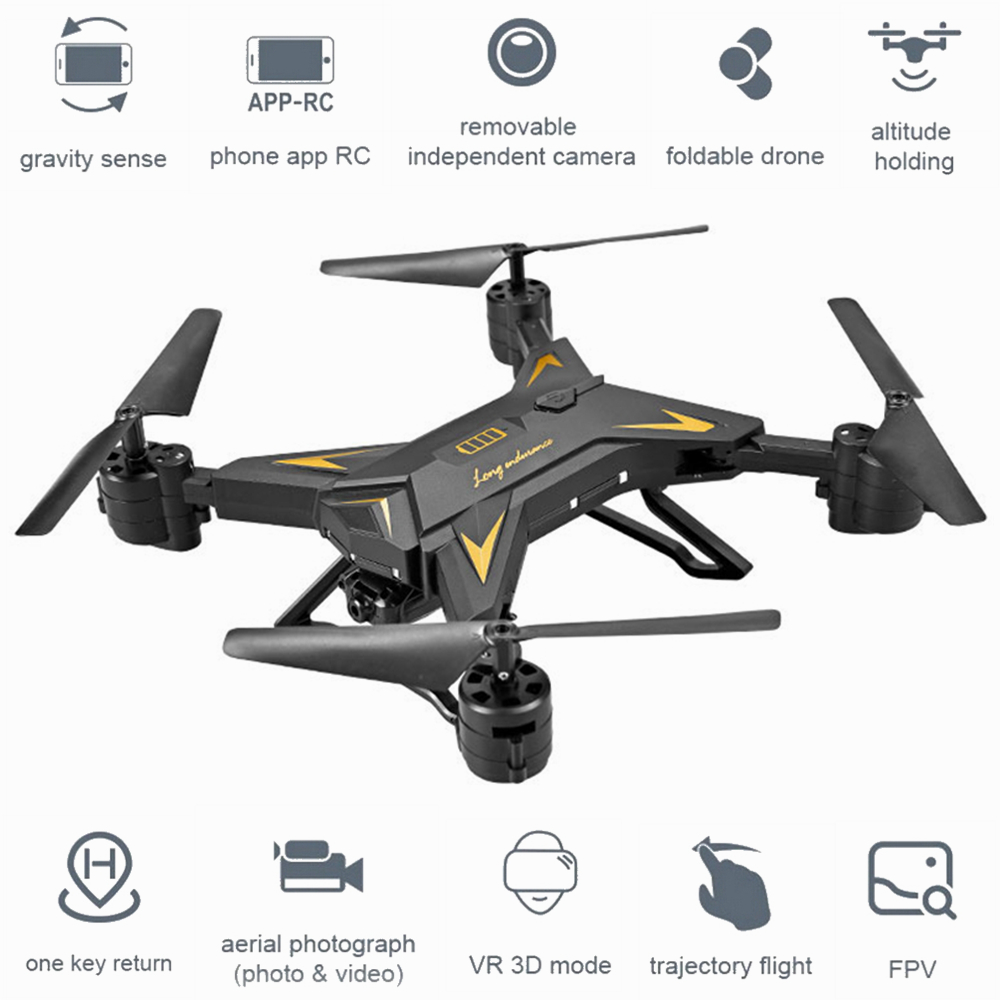 Foldable HD 1080P WIFI FPV Selfie Drones Remote Helicopter KY601S RC Quadcopter Camera Drone 4 Channel Wide Angle Long Lasting
