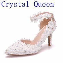 AB 色 クリスタル女王ホワイトレースフラワーウェディングドレス靴ポインテッドトゥブライダル靴ハイヒールの女性は浅いポインテッドトゥ
