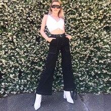 купить!  мода 2019 летняя уличная одежда широкие брюки ноги сбоку бинты брюки для женщин бегунов черные брюки