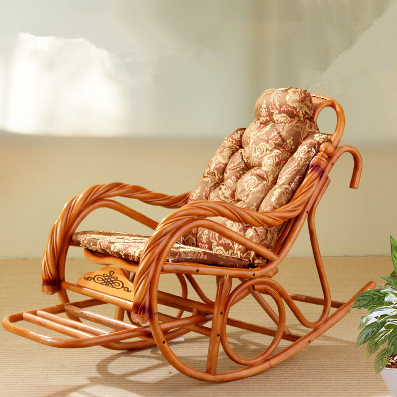 Luxury Rocking Chair With Cushions Rattan Wicker Furniture Indoor Living Room Glider Recliner